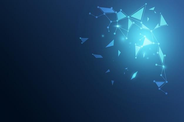 Niedriger dunkler polyhintergrund des abstrakten polygonalen raumes mit verbindungspunkten und linien.