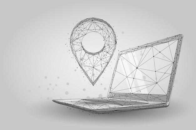 Niedriger poly-gps-stift vom pc-laptopschirm. abstrakte drahtgitterkarten und navigatordienste
