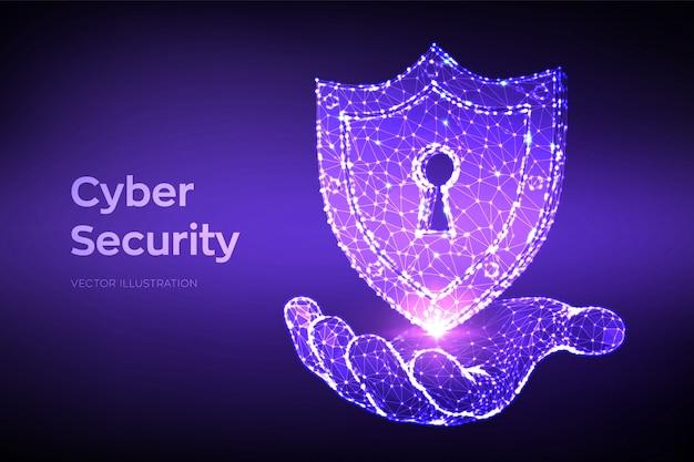 Niedriger polygonaler 3d-schild mit schlüssellochsymbol in der hand. schutz und cybersicherheit des sicheren konzepts.