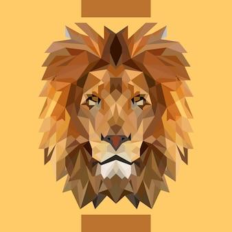 Niedriger polygonaler löwe-kopf-vektor