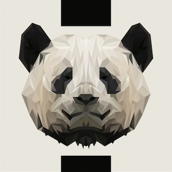 Niedriger polygonaler panda-kopf-vektor