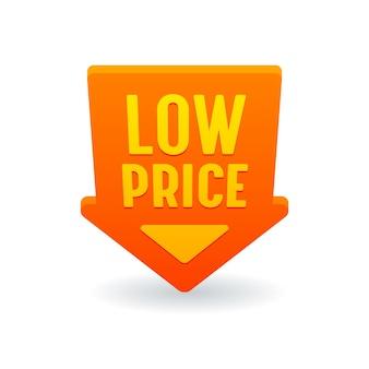 Niedriger preis mit rotem pfeil nach unten rabattetikett, banner oder symbol, promo-angebot zum verkauf, tag, kostensenkung, preisnachlass-aktion