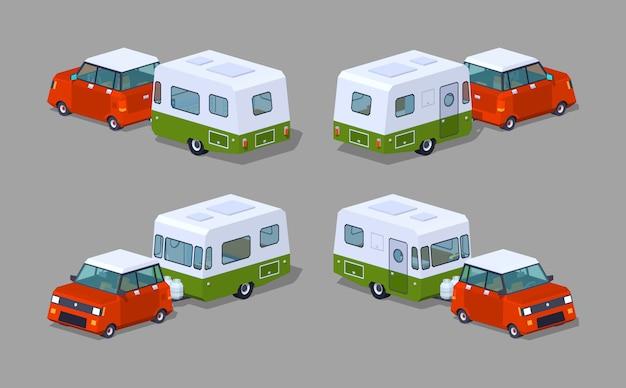 Niedriger roter poly-fließheck mit grün-weißem wohnmobil