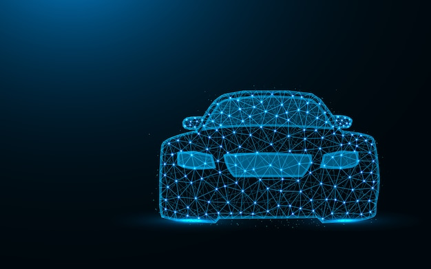 Niedriges polydesign des autos, transportieren das abstrakte geometrische bild und fahren die polygonale vektorillustration der drahtgittermasche, die von den punkten und von den linien gemacht wird