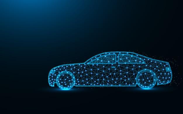 Niedriges polydesign des autos, transportieren das abstrakte geometrische bild und fahren die polygonale vektorillustration der drahtgittermasche, die von den punkten und von den linien gemacht wird Premium Vektoren