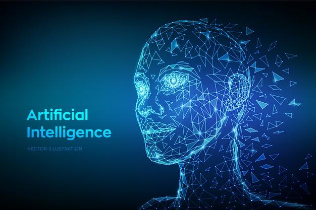 Niedriges polygonales abstraktes digitales menschliches gesicht. künstliche intelligenz-konzept.