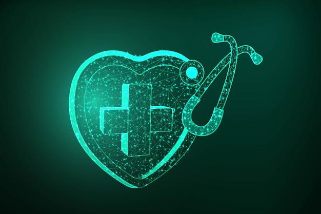 Niedriges polygonales illustrationsdesign des medizinischen herzens und des stethoskops