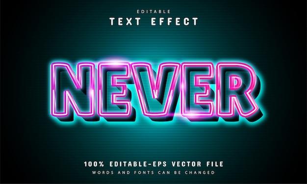Niemals neon-texteffekt