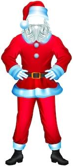 Niemand weihnachtsmann kleidung. pelzmantel, hose, stiefel, fäustlinge, hut. isoliert auf weißer karikaturillustration