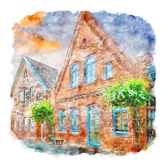 Nienburg deutschland aquarellskizze handgezeichnete illustration