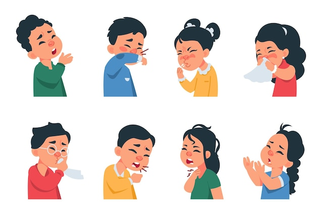 Niesende kinder. zeichentrickfiguren für jungen und mädchen, die grippe husten und erkranken, symptome der coronavirus-krankheit und präventionskonzept. vektorkinder mit virusinfektion niesen, husten, kopfschmerzen