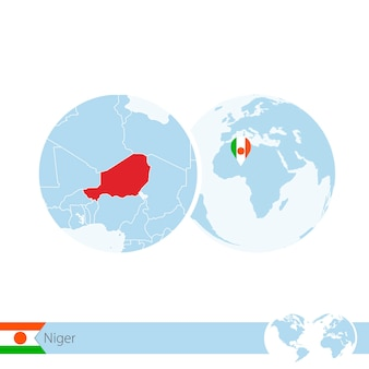 Niger auf der weltkugel mit flagge und regionaler karte von niger. vektor-illustration.