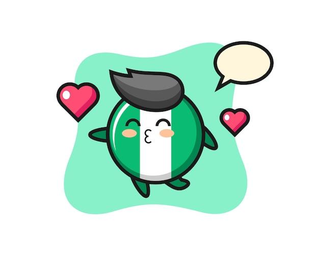 Nigeria-flagge-abzeichen-charakterkarikatur mit küssender geste, süßem stildesign für t-shirt, aufkleber, logo-element