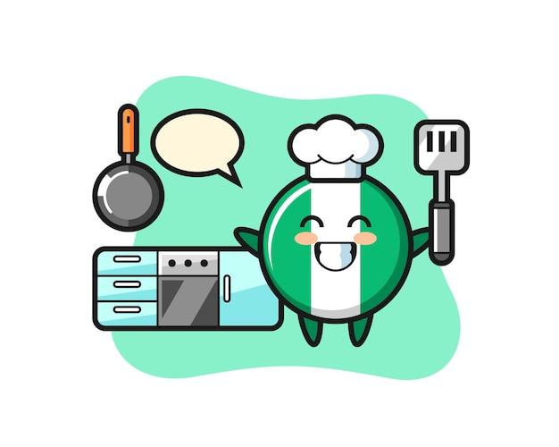 Nigeria-flaggenabzeichen-charakterillustration, während ein koch kocht, niedliches design für t-shirt, aufkleber, logo-element