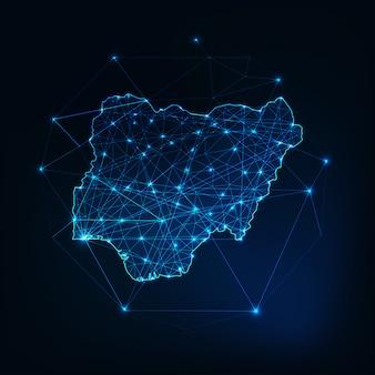 Nigeria karte umriss mit sternen und linien abstrakten rahmen. kommunikation, anschlusskonzept.
