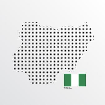 Nigeria-kartenentwurf mit flaggen- und hellem hintergrundvektor