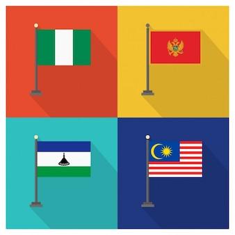 Nigeria Montenegro Lesotho und Malaysia Flaggen