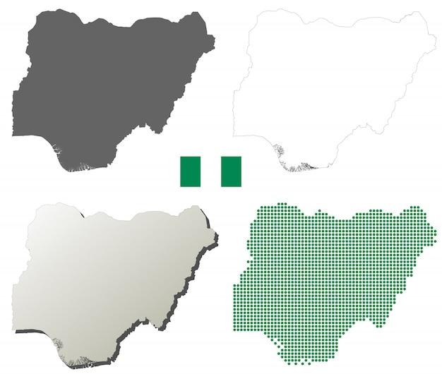 Nigeria-vektorumreißkartensatz