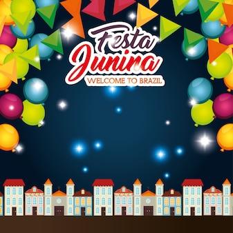 Nightime-stadtlandschaft mit ballons und fahnen festa junina-vektorillustration