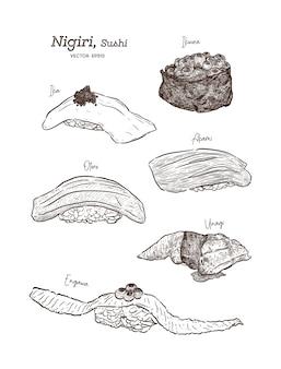 Nigiri set, ika, ikura, akami, otoro, unagi und engawa. skizze vektor hand zeichnen.