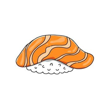 Nigiri-sushi mit lachs.