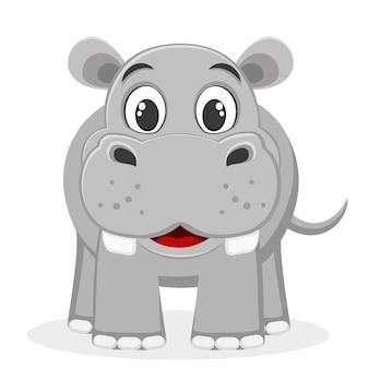 Nilpferd lächelt auf einem weißen.