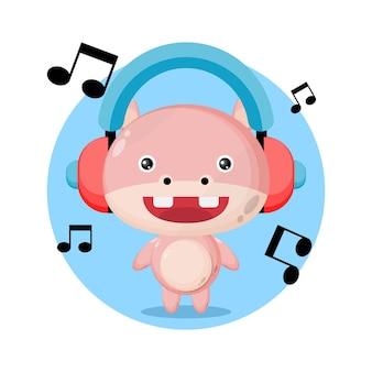 Nilpferd musik süßes charakterlogo