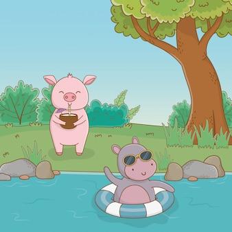 Nilpferd und schwein im wald