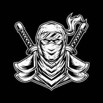 Ninja artwork illustration design logo