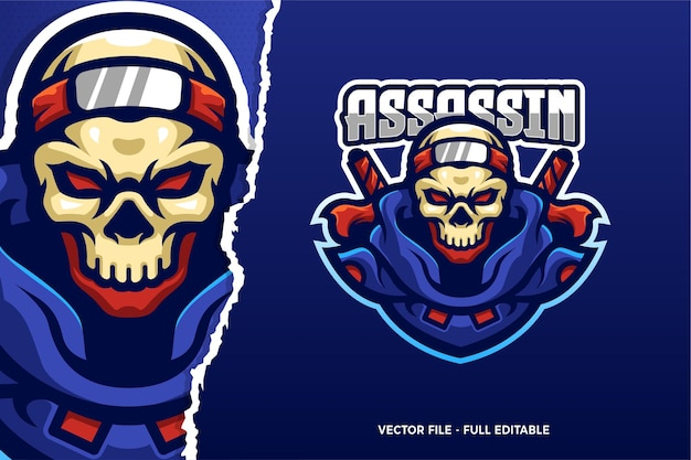 Ninja assassin skull e-sport spiel logo vorlage