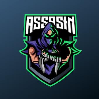 Ninja-attentäter-maskottchen für sport- und esport-logo lokalisiert auf dunklem hintergrund