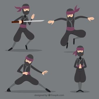 Ninja charakter in verschiedenen posen