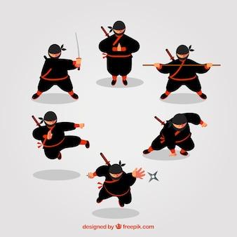Ninja charakter sammlung von sechs