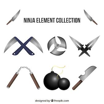Ninja elements sammlung im realistischen stil