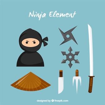 Ninja elements sammlung in flachen stil
