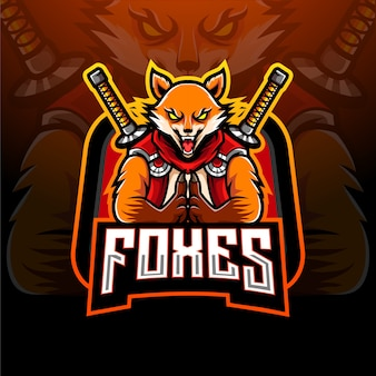Ninja fox esport maskottchen design logo