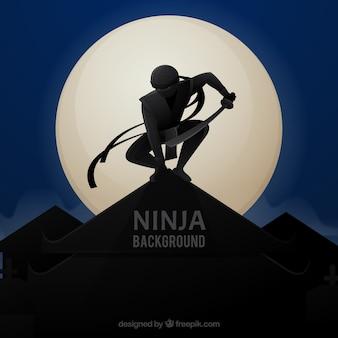 Ninja hintergrund mit krieger in der nacht