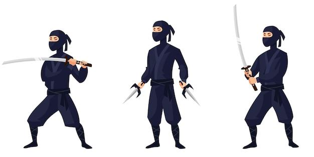 Ninja in verschiedenen posen. japanische figur im cartoon-stil.