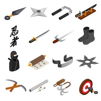 Ninja isometrische ikone 3d lokalisiert auf weißem hintergrund