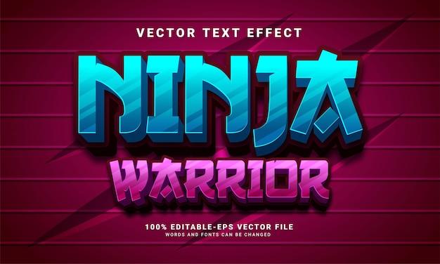 Ninja-krieger 3d-texteffekt, bearbeitbarer textstil