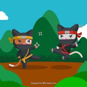 Ninja krieger hintergrund mit flachen design
