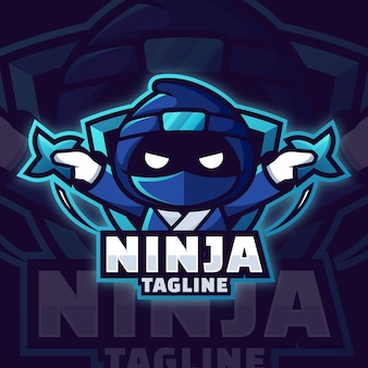 Ninja-logo-vorlage im farbverlauf