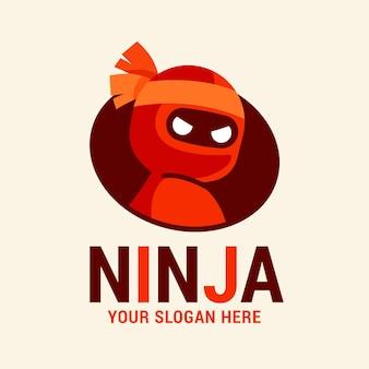 Ninja-logo-vorlage im flachen design