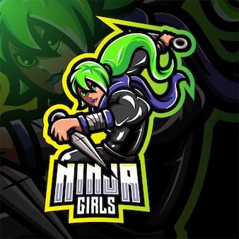 Ninja mädchen esport maskottchen logo design