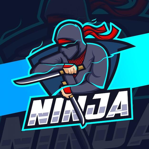 Ninja maskottchen esport logo design
