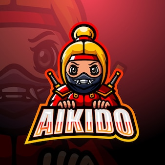 Ninja maskottchen esport logo illustration