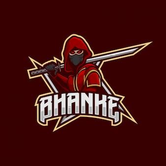 Ninja maskottchen-esport-logo