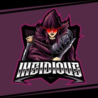 Ninja-maskottchen-logo der frau