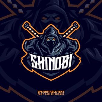 Ninja maskottchen logo vorlage