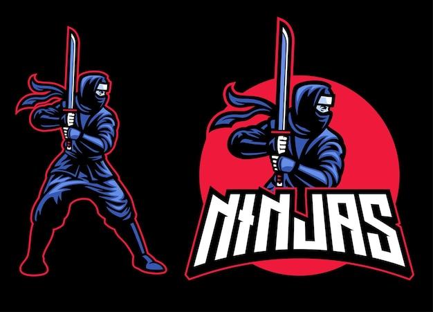 Ninja-maskottchen mit dem katana-schwert